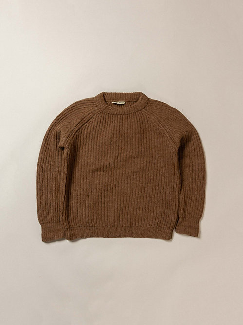 Vtg Brown Heavy Wool Knit Sweater (L)