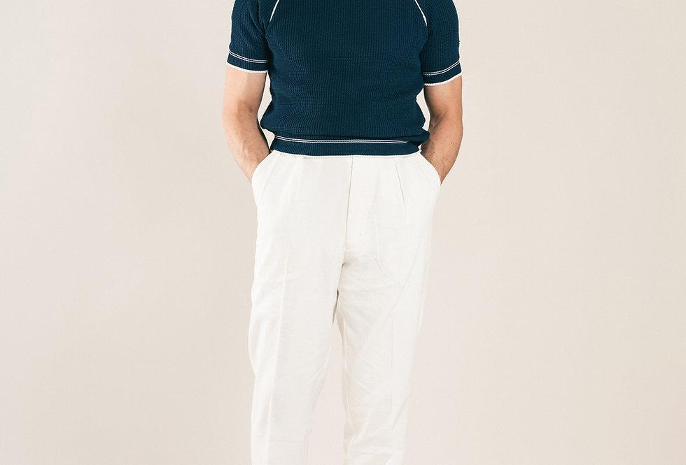 Casatlantic trousers. Model: Safi. Color: White. Material: linen/cotton. Made in Casablanca.