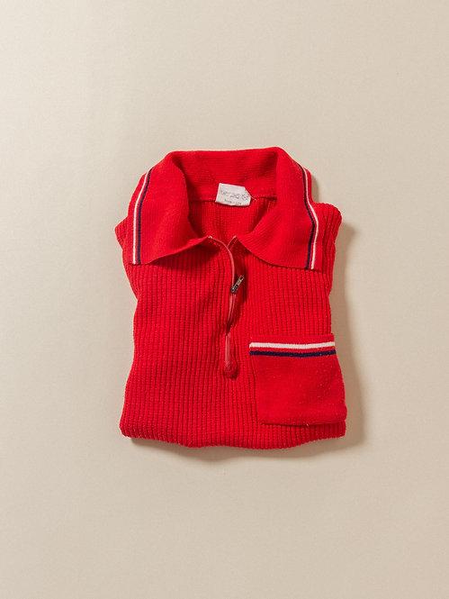 Vtg Red Half-Zip Mesh Polo (XS/S)