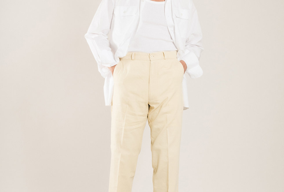 Casatlantic trousers. Model: El Jadida. Color: Vanilla. Material: linen/cotton. Made in Casablanca.