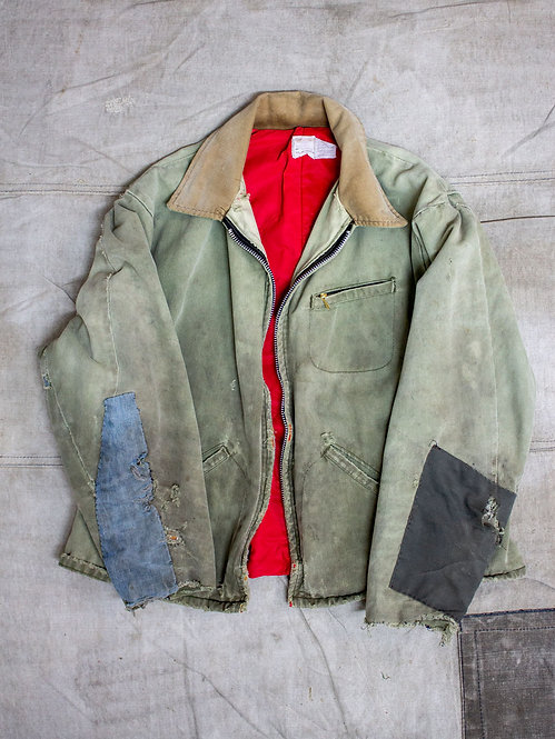 Vintage 1960s repaired american work jacket in canvas cotton
