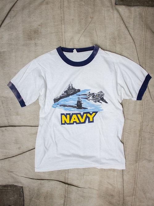 Vtg US Navy Ringer Tee (S)