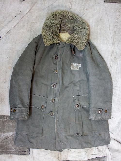 Vtg 1940s Swedish Army Shearling Coat (M)