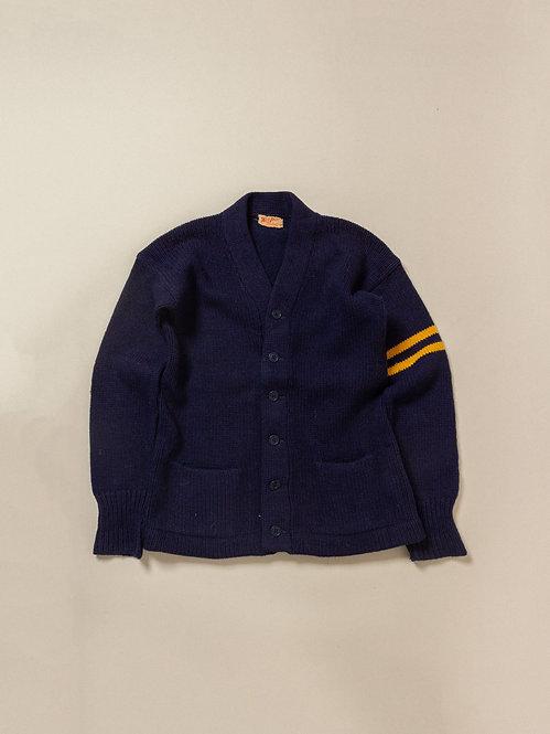 Vtg Mint Condition West Park Navy Letterman Knit Cardigan (M)