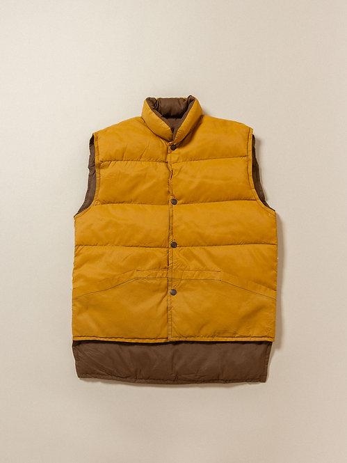 Vtg Brown/Yellow Reversible Down Vest (M)