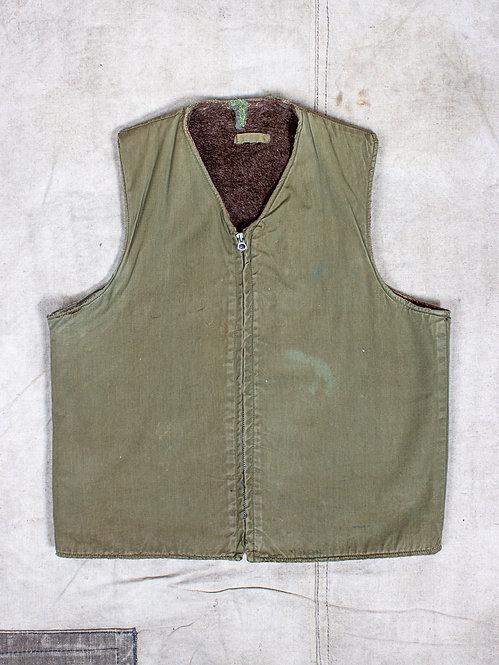 Vtg WWII / Korean War US Army Alpaca Wool Lined Vest