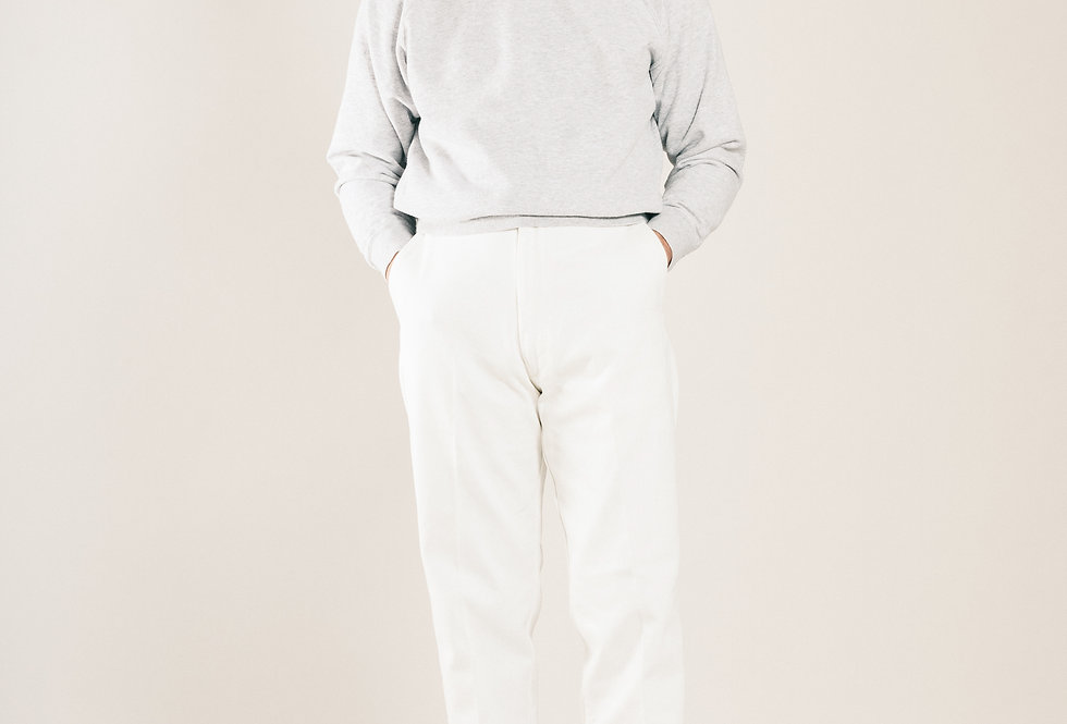Casatlantic | El Jadida - The Explorer's Cut | High waisted white cotton trousers with a flat front and zip fly