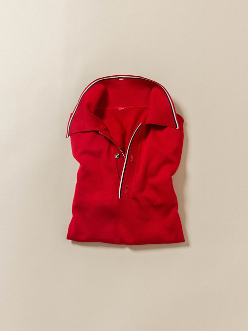 Vtg Red Long Sleeve Knit Polo (L)