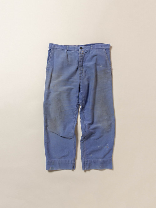 Vtg French Moleskin Workwear Trousers (36x26)