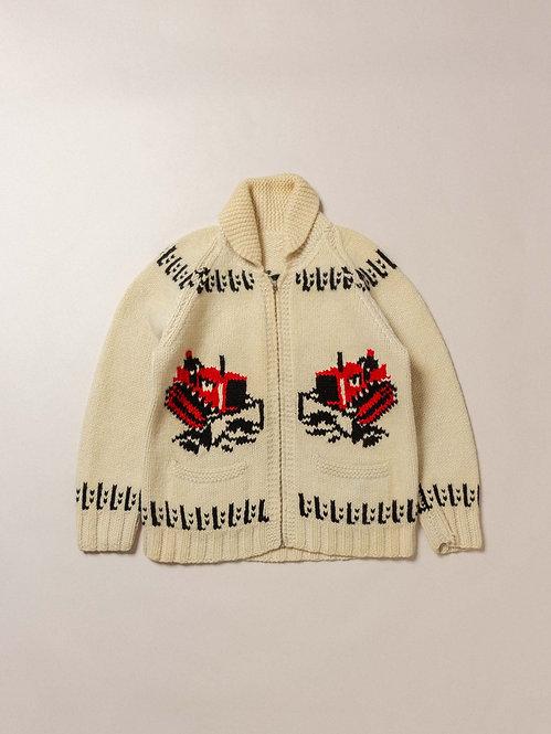 Vtg Hand Knit Cowichan Zip Sweater (XS/S)