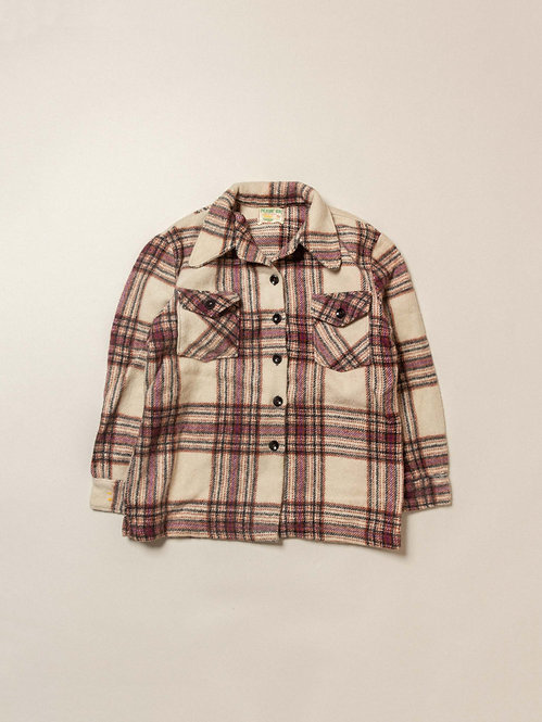 Vtg Womens Wool Plaid Overshirt (S)