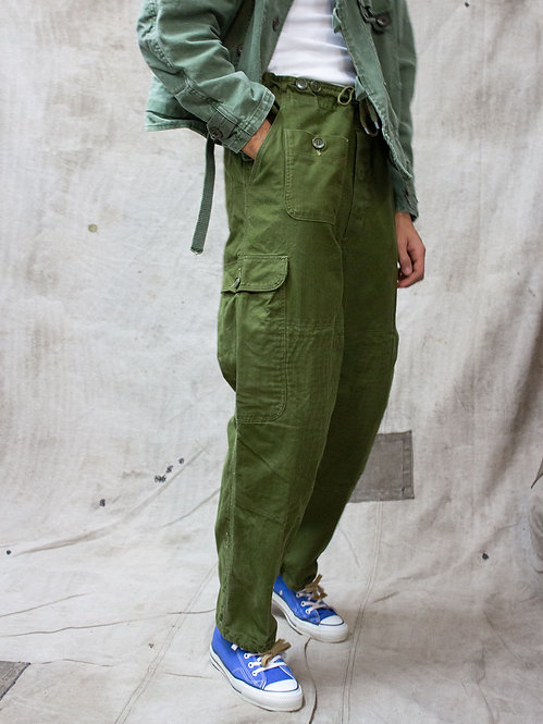 Vintage 60s 70s Danish Army Parachute Cargo Pants on Nathaniel Asseraf