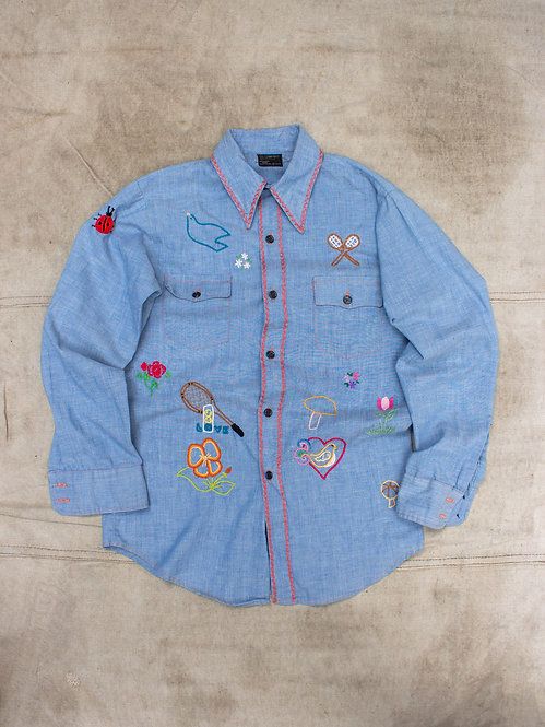 Vtg 1970s Hand Embroidered Chambray Shirt (S)