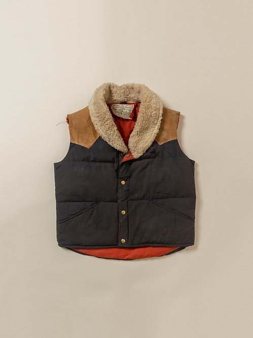 Vtg William Barry Two Tone Down Vest - Made in USA (M)