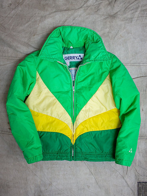 Vtg 1970s-1980s GERRY Green Down Ski Jacket (XS)