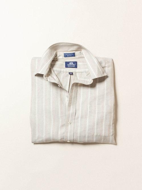 Vtg Stafford Taupe Striped BD Shirt (XL/XXL)