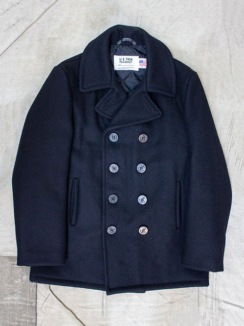 Schott nyc US navy peacoat 740n wool blend made in usa pea coat