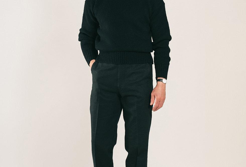 Casatlantic trousers. Model: El Jadida. Color: Black. Material: linen/cotton. Made in Casablanca.