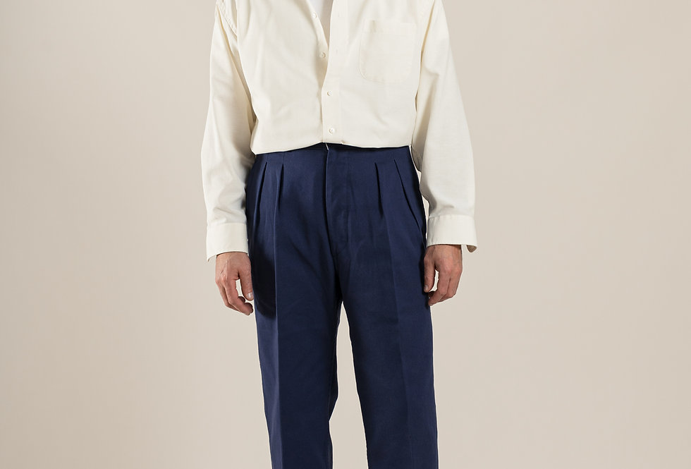 Casatlantic - Tanger in Navy. Double Pleat cotton trousers inspired by french army foreign legion from the 1950s. High waist