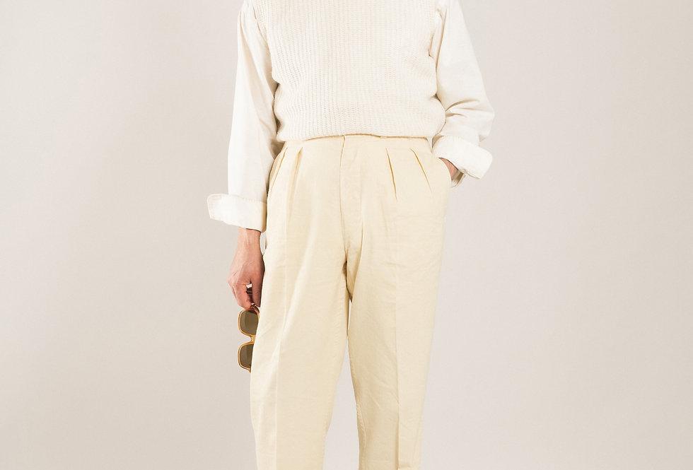 Casatlantic trousers. Model: Tanger. Color: Vanilla. Material: linen/cotton. Made in Casablanca.
