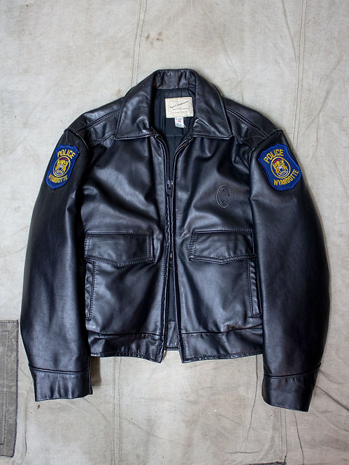 Vintage deadstock police leather jacket with sleeve patch Wyandotte Michigan