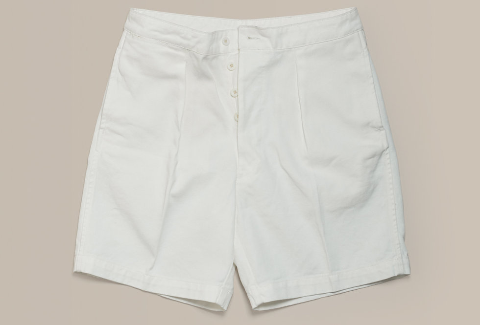 Casatlantic | Mogador - The Tailor's Cut | High waisted white cotton trousers with single pleats and side adjusters
