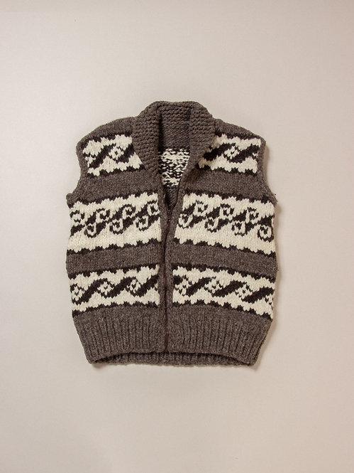 Vtg Hand Knit Cowichan Wool Vest (S)
