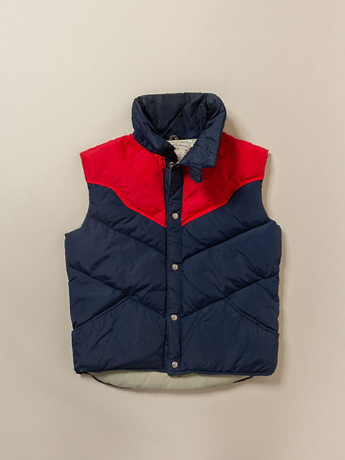 Vtg William Barry Two Tone Down Vest - Made in USA (L)
