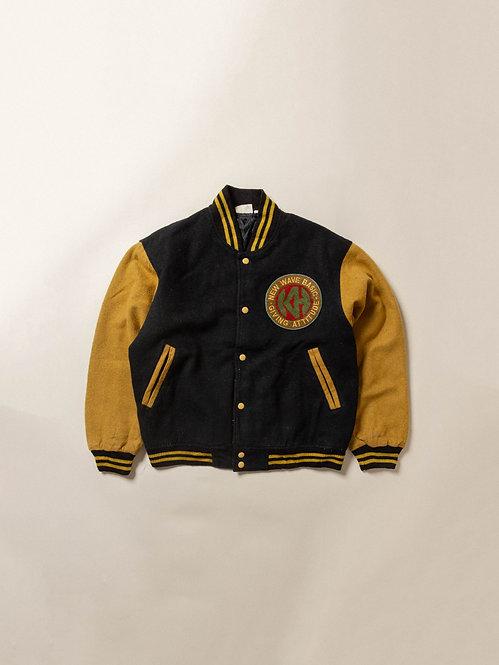 Vtg Yellow/Black Wool Varsity Jacket (L)