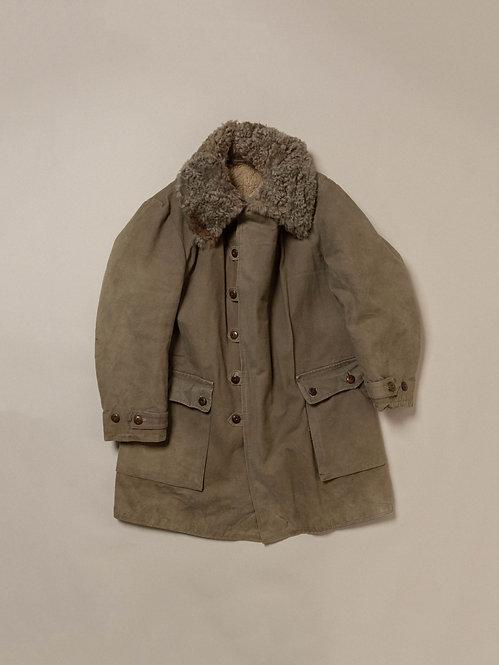Vtg 1940s Swedish Army Shearling Coat (L)