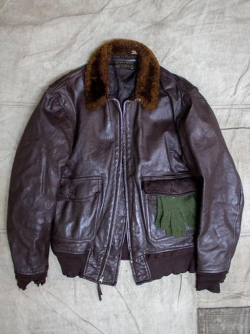Vtg 1950s USN G-1 Leather Flight Jacket