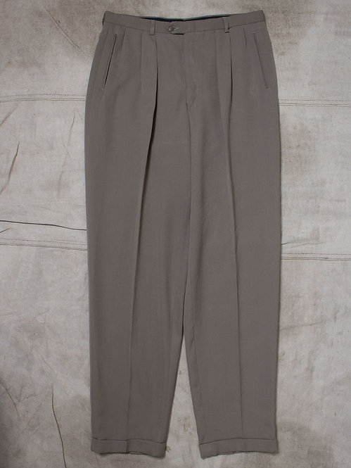 Vtg Taupe Lighweight Wool Blend Trousers (34x34)
