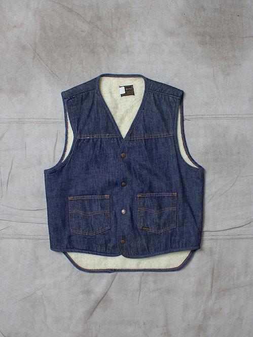 Vtg Sears 1970s Denim Vest (M)