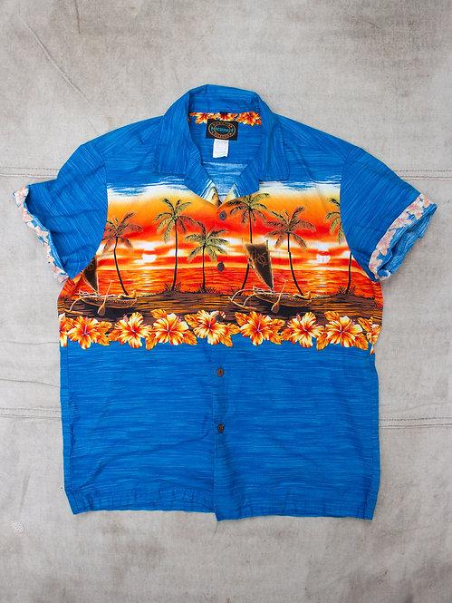 Vtg Hawaiian Sunset Print Shirt (S)