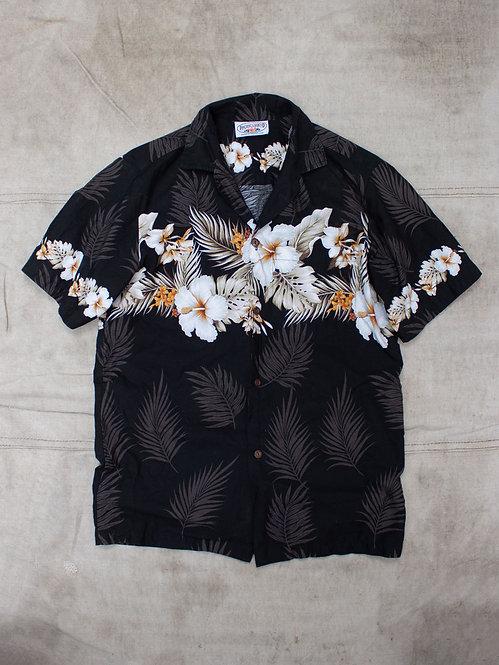 Vtg Black Hawaii Floral Shirt (S/M)