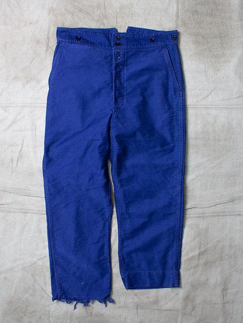 Vtg French Moleskin Buckleback Trousers (36x26)