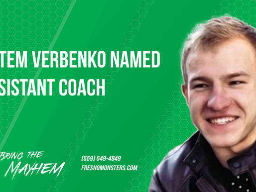 Artem Verbenko named Assistant Coach for the Monsters