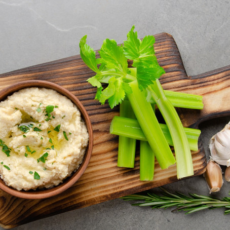Best Hummus Recipe Served With A Side Of Organic Celery