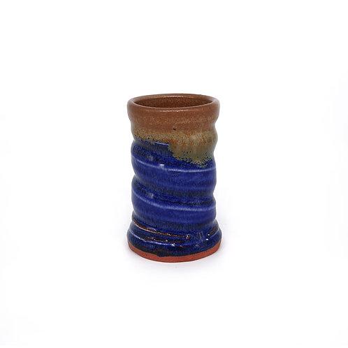 Mini vase in blue and natural glaze