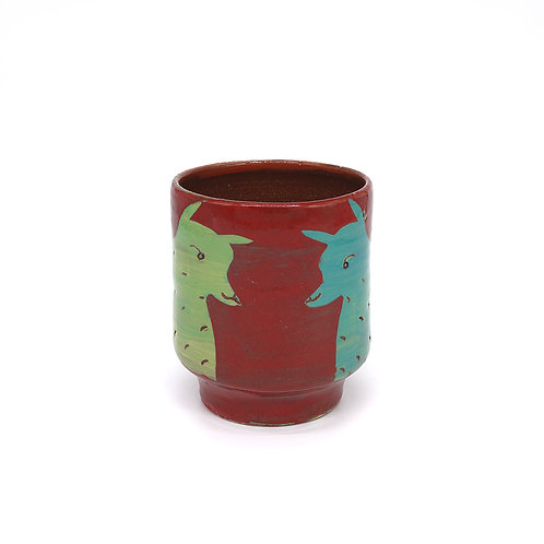 Red Cup (Yunomi) with Green and Turquoise Fox