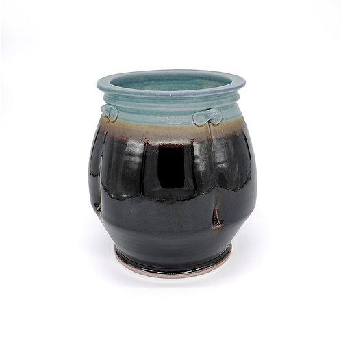 Round Vase - large in Copper l Black glaze