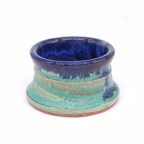 Mini vessel in blue and celadon glaze with spiral
