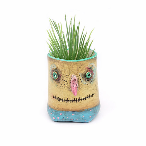 Yellow Pot Head with Pink Nose
