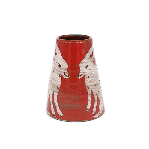 Small Red Vase with White Rabbits