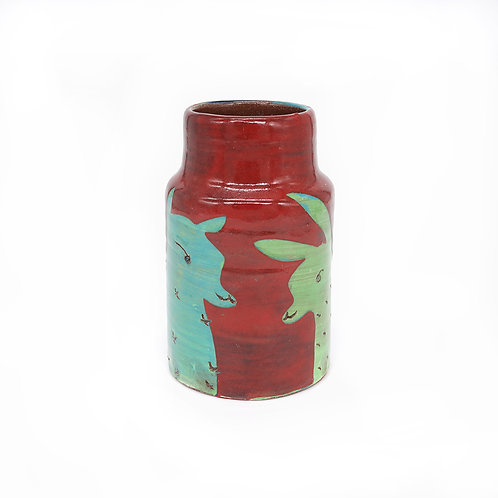 Small Red Vase with Turquoise and Green Rabbits