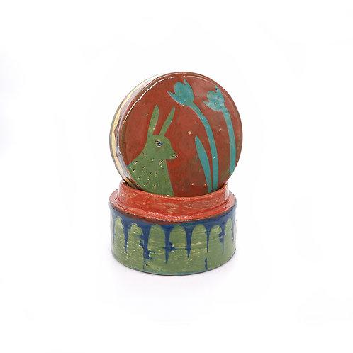 Green Rabbit Lidded Box