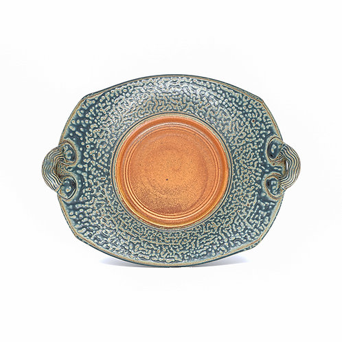 Rectangle Handled Plate in Tan l Ash glaze