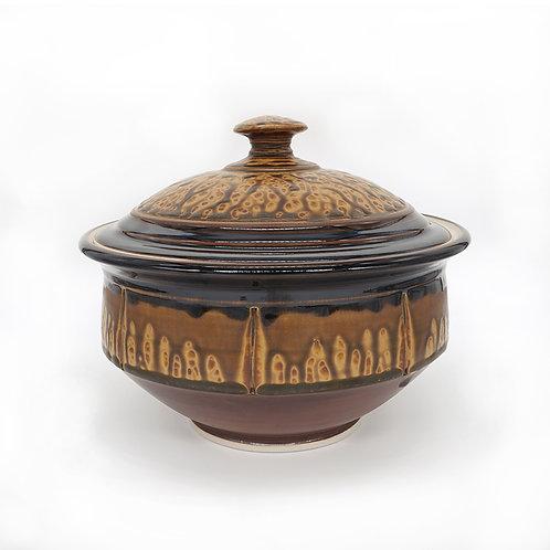 Large casserole in Brown Ash glaze