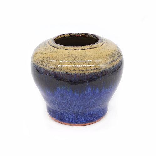 Mini vessel in blue and ochre glaze