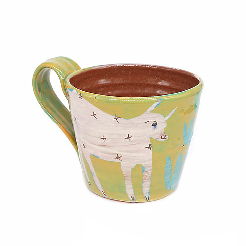 Chartreuse mug with 2 white Foxes